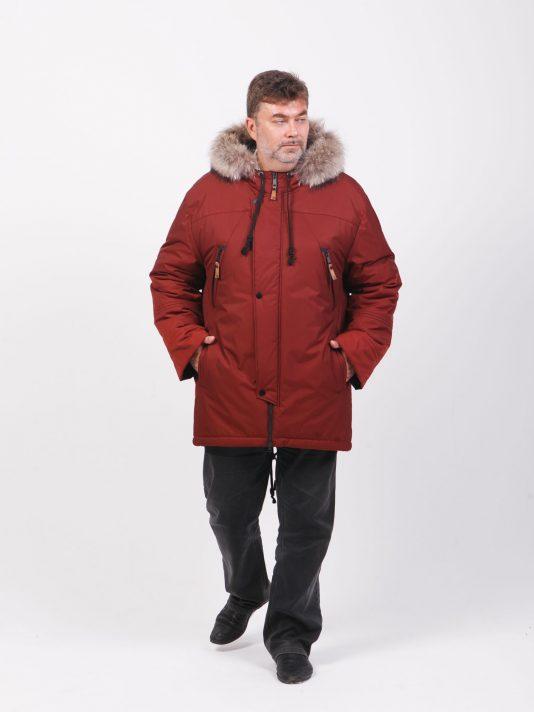 Мужская куртка парка на мембране с енотовой опушкой по капюшону, цвет бордовый в интернет-магазине Фабрики Тревери