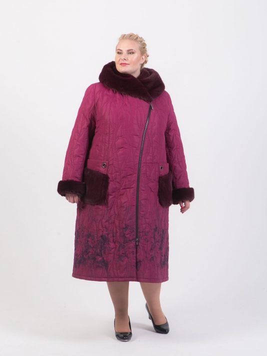 Стеганое пальто на молнии с меховыми карманами, цвет бордовый в интернет-магазине Фабрики Тревери