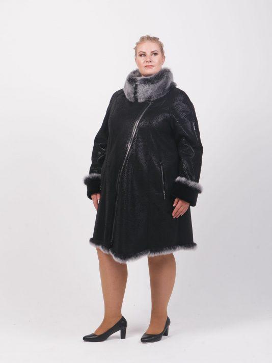 Удлиненная дубленка косуха с Тосканой, цвет черный в интернет-магазине Фабрики Тревери