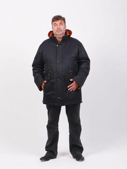 Зимняя куртка Аляска с комбинированной плащевкой, цвет черный в интернет-магазине Фабрики Тревери