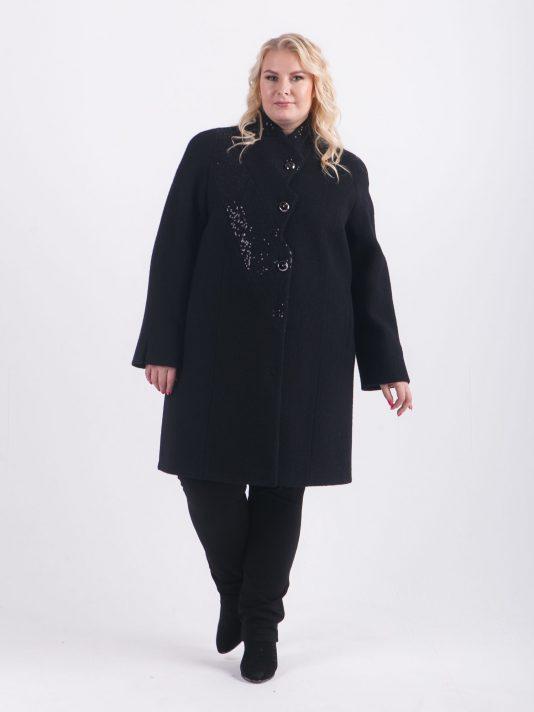 Демисезонное пальто из вареной шерсти с отделкой пайетками, цвет черный в интернет-магазине Фабрики Тревери
