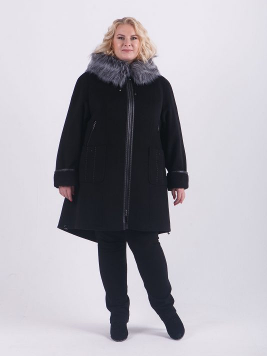 Драповая куртка парка на молнии с отделкой из чернобурки, цвет черный в интернет-магазине Фабрики Тревери