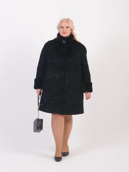 Каракулевая шуба с меховой стойкой из норки, цвет черный в интернет-магазине Фабрики Тревери