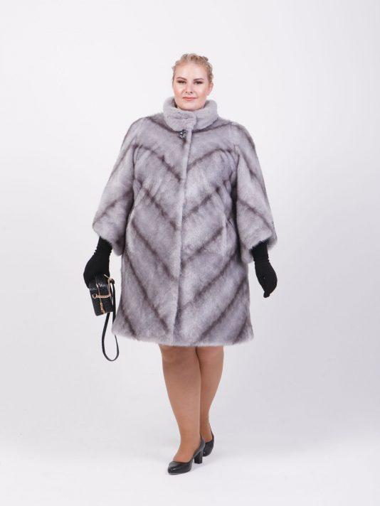 Женская шубка под норку крестовку с рукавом 7/8 , цвет серый в интернет-магазине Фабрики Тревери