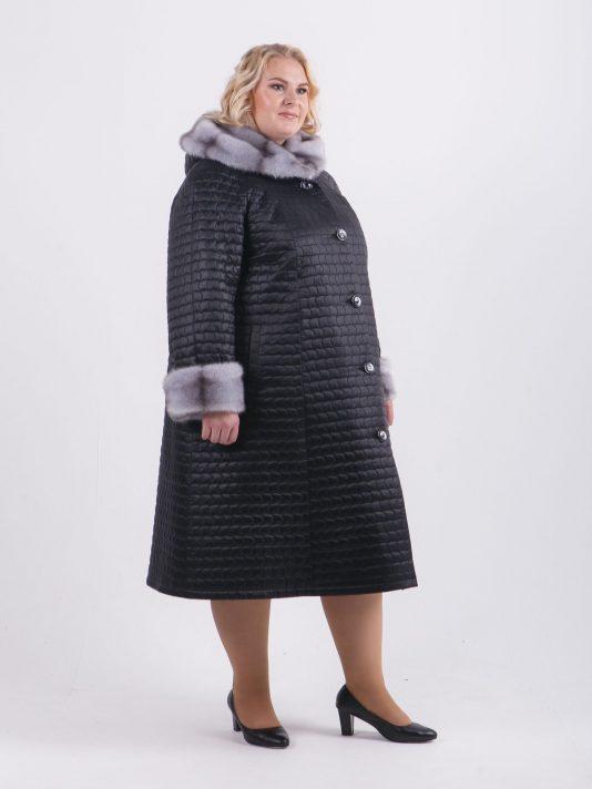Зимнее стеганое пальто с отделкой из норки крестовки, цвет черный в интернет-магазине Фабрики Тревери