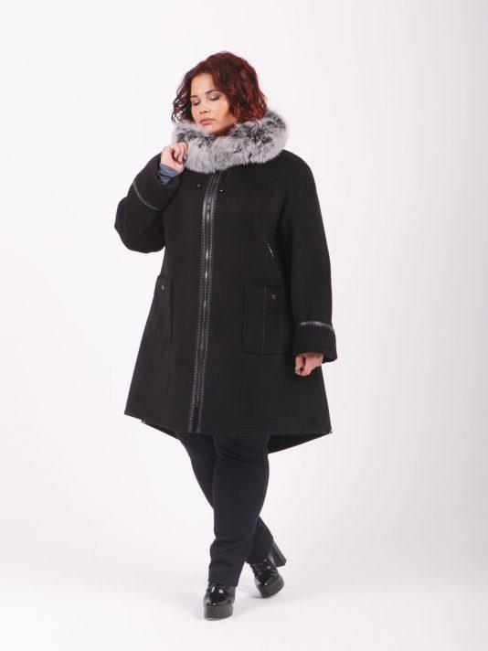 Зимняя куртка парка на верблюжьем утеплителе с песцовой опушкой по капюшону, цвет черный в интернет-магазине Фабрики Тревери