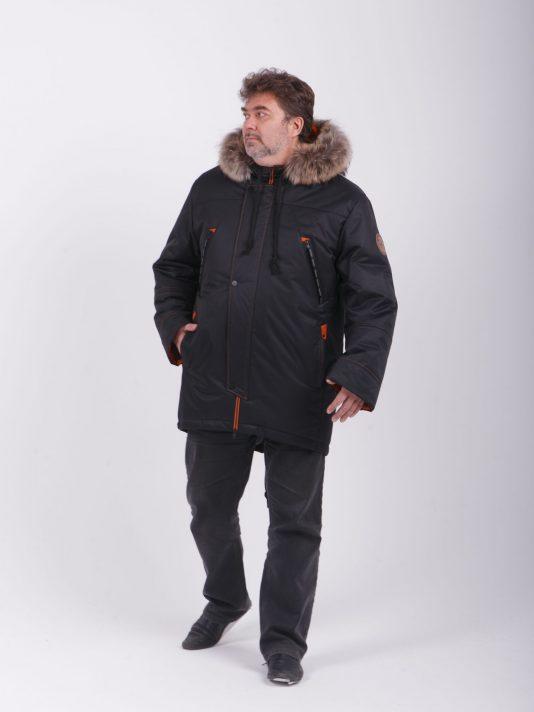 Мужская куртка парка на мембране с опушкой из енота, цвет черный в интернет-магазине Фабрики Тревери