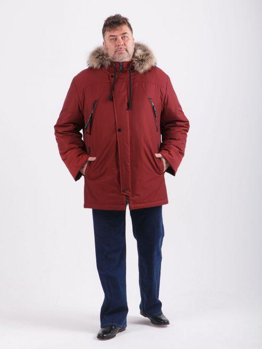 Эффектная куртка Аляска бордового цвета с черной отделкой, цвет бордовый в интернет-магазине Фабрики Тревери