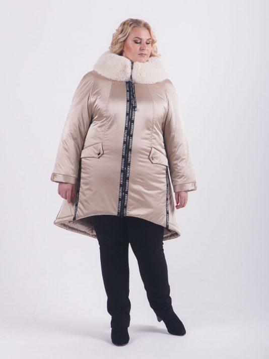Эффектная куртка парка с брендированными лентами, цвет бежевый в интернет-магазине Фабрики Тревери