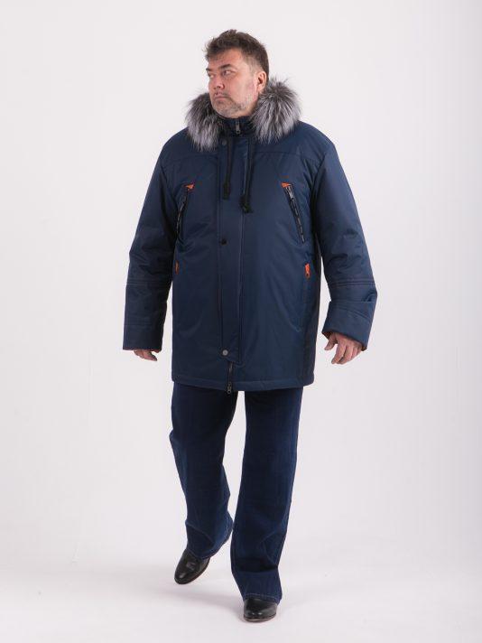Синяя аляска с оранжевой отделкой и опушкой из натуральной чернобурки, цвет синий в интернет-магазине Фабрики Тревери