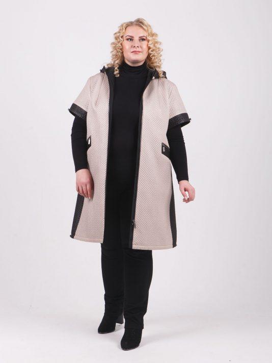 Двухцветное пальто из стежки на молнии, цвет бежевый в интернет-магазине Фабрики Тревери