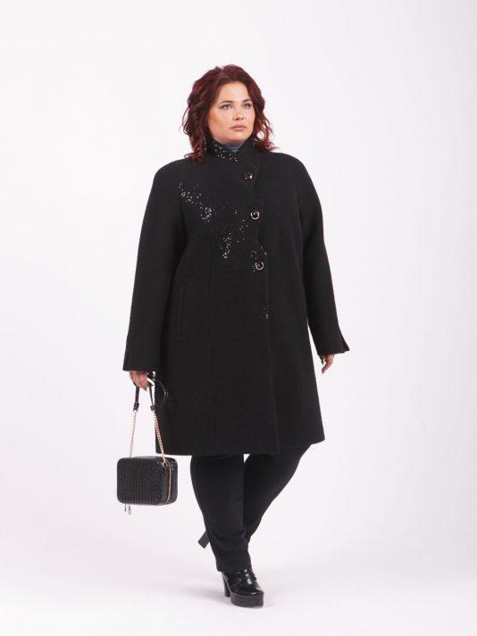 Асимметричное шерстяное пальто с пайетками, цвет черный в интернет-магазине Фабрики Тревери