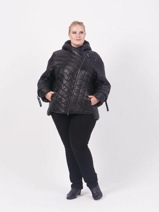 Брендированная стеганая куртка косуха на молнии, цвет черный в интернет-магазине Фабрики Тревери