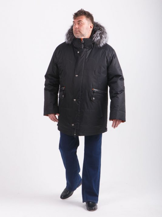 Черная куртка Аляска с опушкой из чернобурки, цвет черный в интернет-магазине Фабрики Тревери