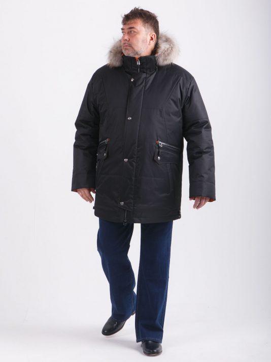 Черная куртка Аляска с опушкой из енота, цвет черный в интернет-магазине Фабрики Тревери