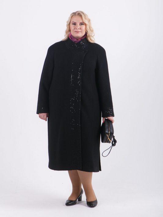 Длинное шерстяное пальто Шанель, цвет черный в интернет-магазине Фабрики Тревери