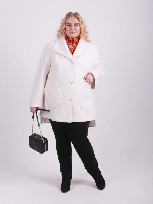 Укороченное демисезонное пальто, цвет белый в интернет-магазине Фабрики Тревери