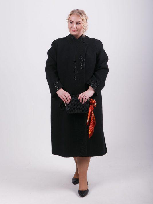 Длинное пальто Шанель из 2-х видов шерстяного драпа, цвет черный в интернет-магазине Фабрики Тревери