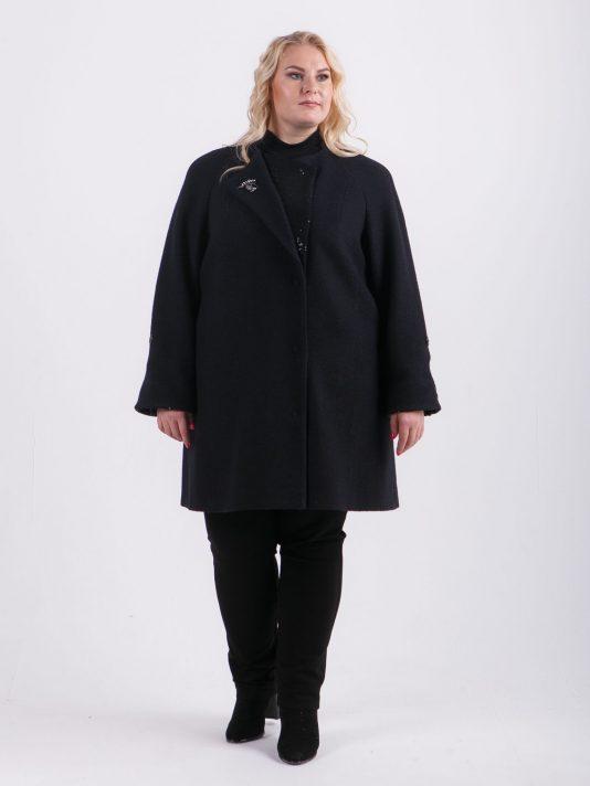 Романтичное женское пальто с брошью, цвет черный в интернет-магазине Фабрики Тревери