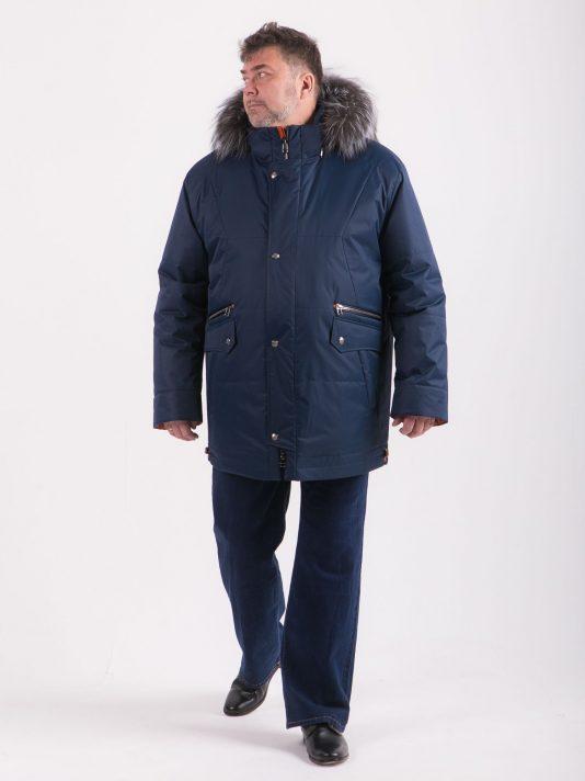 Синяя куртка Аляска с опушкой из чернобурки, цвет синий в интернет-магазине Фабрики Тревери