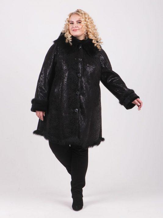 Укороченная дубленка с отделкой из черной Тосканы, цвет черный в интернет-магазине Фабрики Тревери