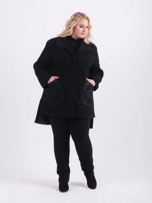 Укороченное демисезонное пальто, цвет черный в интернет-магазине Фабрики Тревери