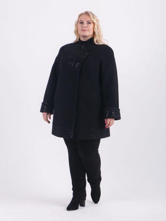 Укороченное пальто из шерсти, цвет черный в интернет-магазине Фабрики Тревери