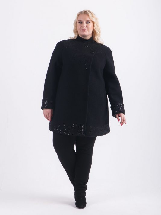 Укороченное шерстяное пальто с пайетками, цвет черный в интернет-магазине Фабрики Тревери