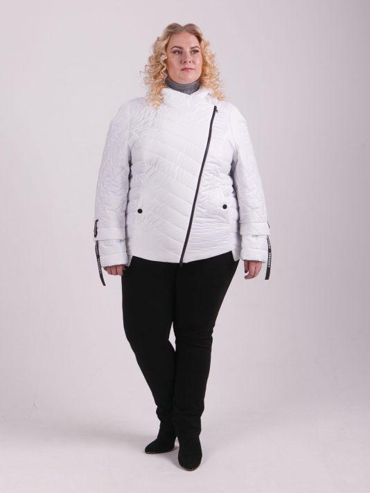 Брендовая молодёжная куртка «косуха», цвет белый в интернет-магазине Фабрики Тревери
