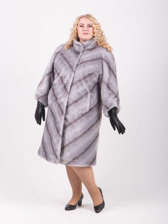 Элегантная шубка из норки-крестовки с рукавом 7/8, цвет серый в интернет-магазине Фабрики Тревери