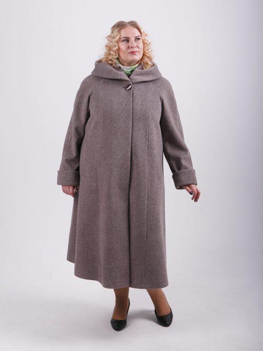 Элегантное женское пальто силуэта трапеция, цвет коричневый в интернет-магазине Фабрики Тревери