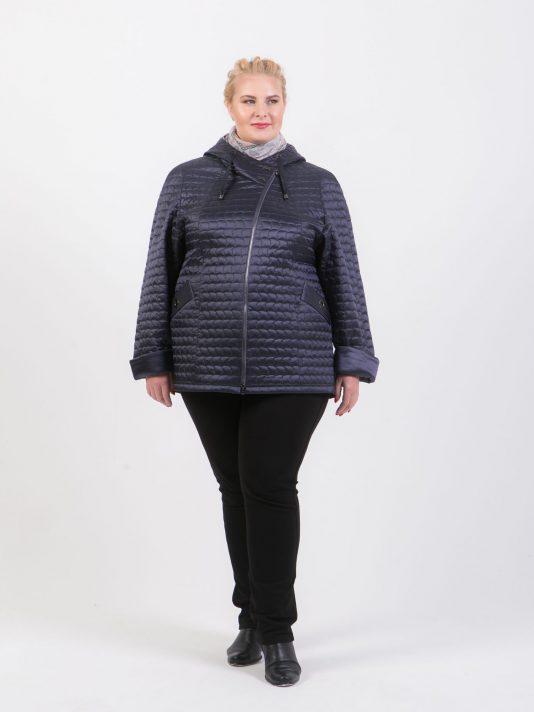 Куртка из стеганной ткани синего цвета, цвет синий в интернет-магазине Фабрики Тревери