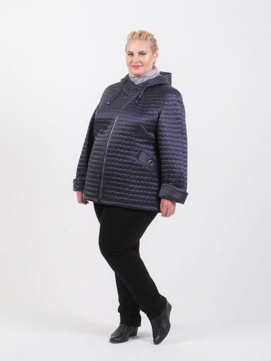 Куртка косуха из красивой стеганной ткани, цвет синий в интернет-магазине Фабрики Тревери