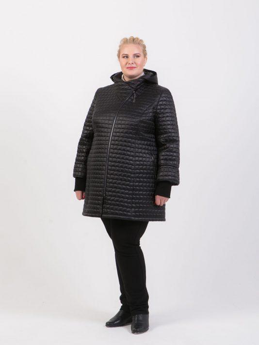 Женская куртка косуха из стеганной ткани, цвет черный в интернет-магазине Фабрики Тревери