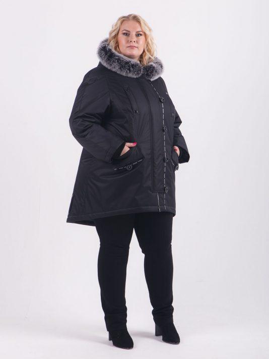 Зимняя куртка глубокого чернильного цвета, цвет черный в интернет-магазине Фабрики Тревери