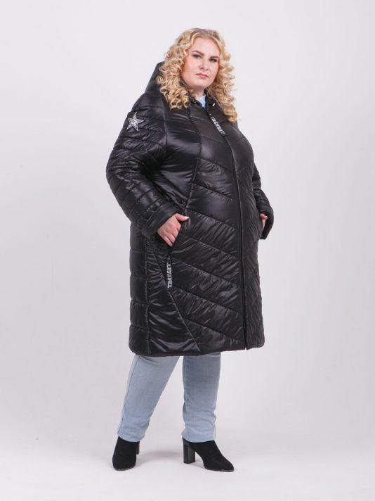 Брендированное женское пальто из комбинированной ткани, цвет черный в интернет-магазине Фабрики Тревери