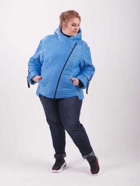 Брендовая молодёжная куртка «косуха», цвет голубой в интернет-магазине Фабрики Тревери