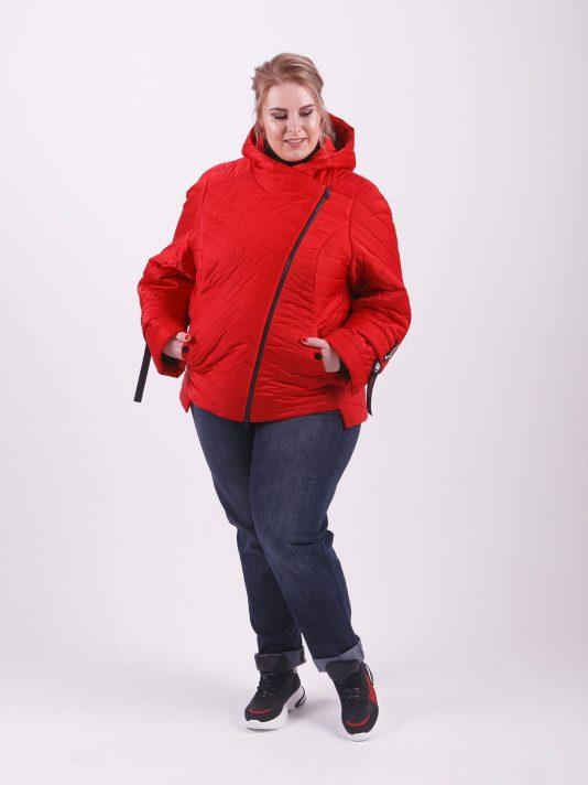 Брендовая молодёжная куртка «косуха», цвет красный в интернет-магазине Фабрики Тревери