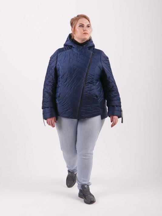 Брендовая молодёжная куртка «косуха», цвет синий в интернет-магазине Фабрики Тревери