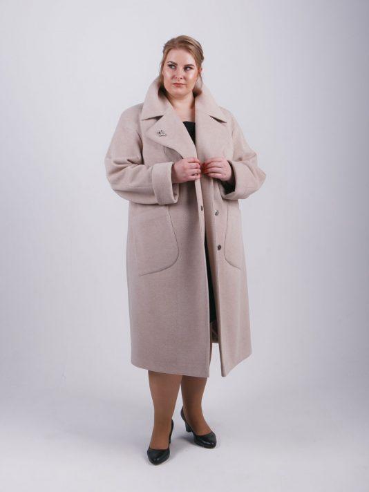 Элегантное женское пальто из ткани цвета беж, цвет бежевый в интернет-магазине Фабрики Тревери