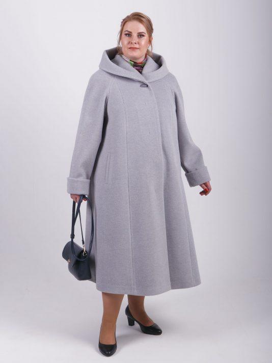Элегантное женское пальто силуэта трапеция, цвет серый в интернет-магазине Фабрики Тревери