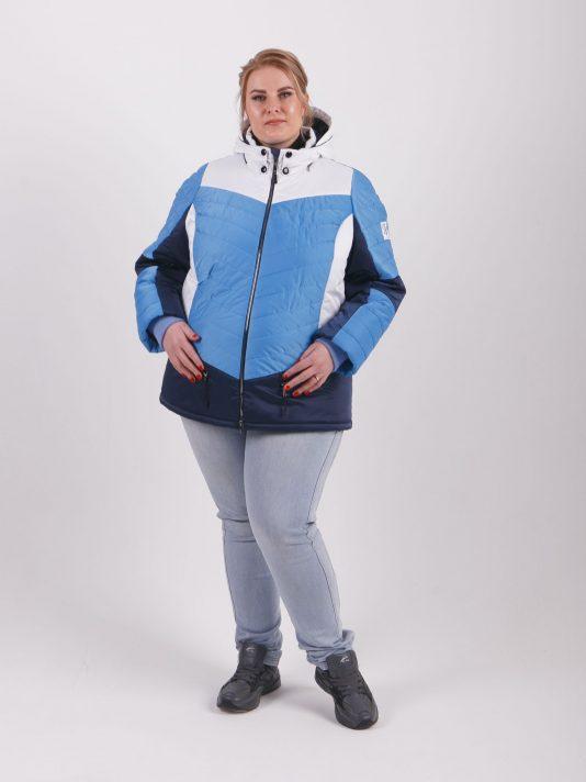 Комбинированная женская куртка на молнии, цвет голубой в интернет-магазине Фабрики Тревери