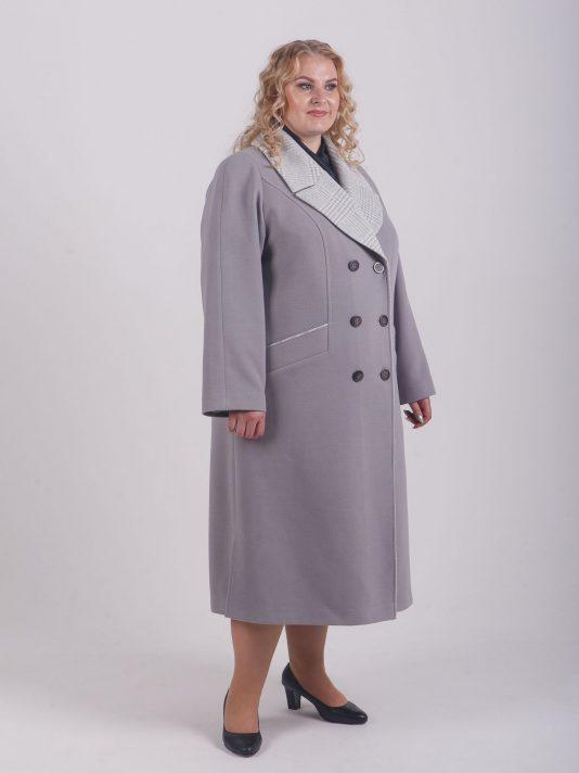 Пальто нежно-серого цвета с клетчатой отделкой, цвет серый в интернет-магазине Фабрики Тревери