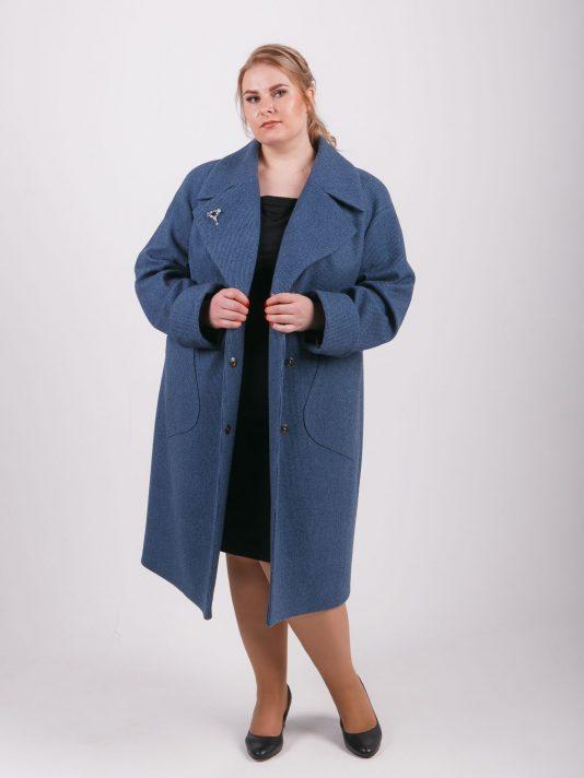 Пальто оверсайз с накладными карманами двух цветов, цвет бирюзовый в интернет-магазине Фабрики Тревери