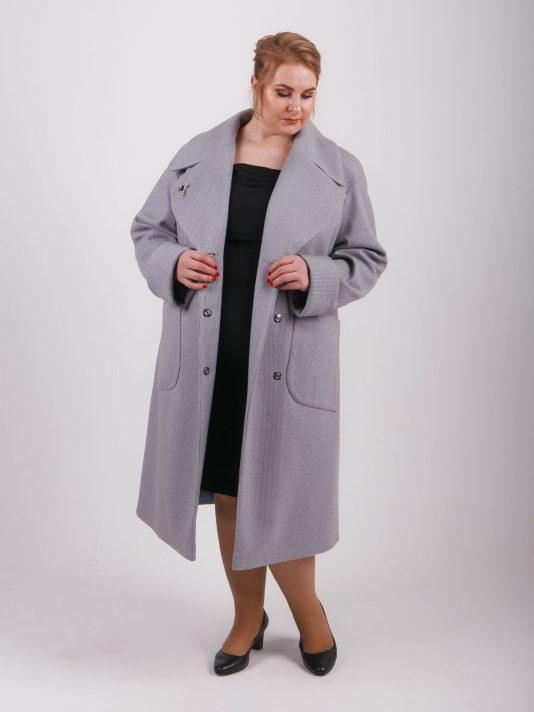 Пальто оверсайз с накладными карманами двух цветов, цвет сиреневый в интернет-магазине Фабрики Тревери
