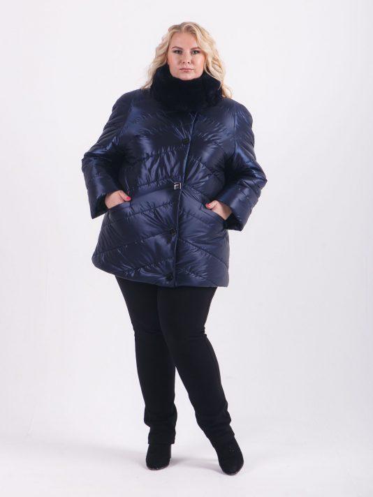 Стеганная куртка с меховым воротником из искусственного песца, цвет синий в интернет-магазине Фабрики Тревери