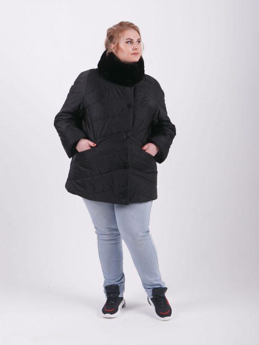 Женская куртка из стеганой ткани с меховым воротником-стойка, цвет черный в интернет-магазине Фабрики Тревери