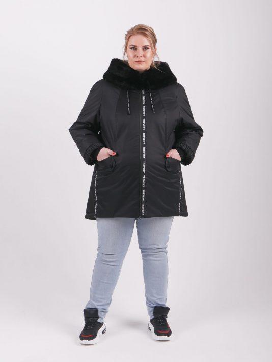 Женская зимняя куртка из плащевой ткани черного цвета, цвет черный в интернет-магазине Фабрики Тревери