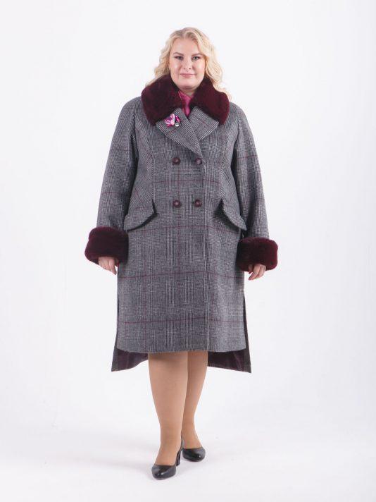 Зимнее пальто в клетку с меховым воротником, цвет серый в интернет-магазине Фабрики Тревери