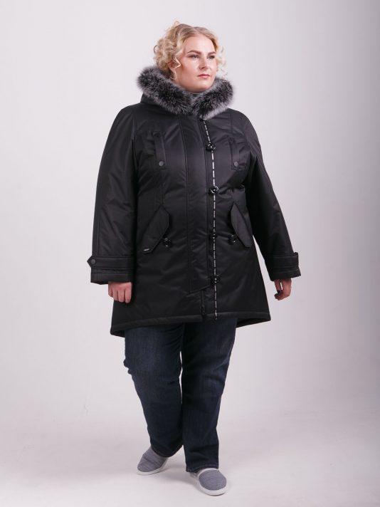 Зимняя куртка из плащевой ткани глубокого чернильного цвета, цвет черный в интернет-магазине Фабрики Тревери